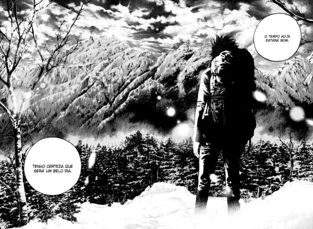 Mori Buntarou encarando as montanhas geladas em Kokou no Hito