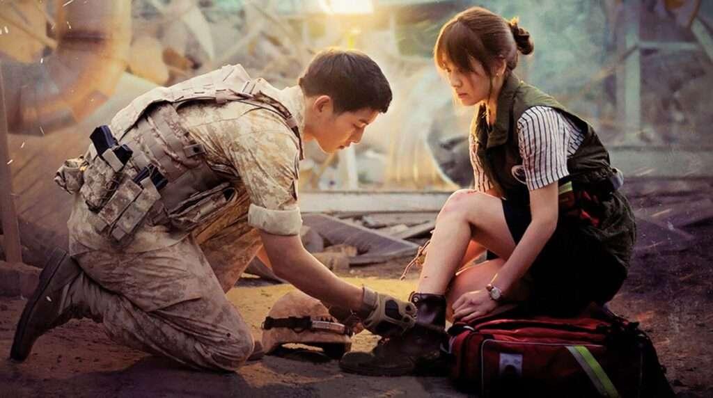 Imagem de Yoo Shi Jin amarrando o sapato de Kang Mo Yeon