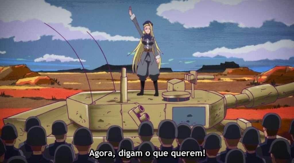 moça loira comandando exército em anime