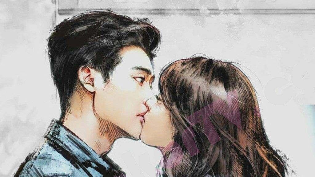 Imagem dos personagens principais de W Two Worlds se beijando