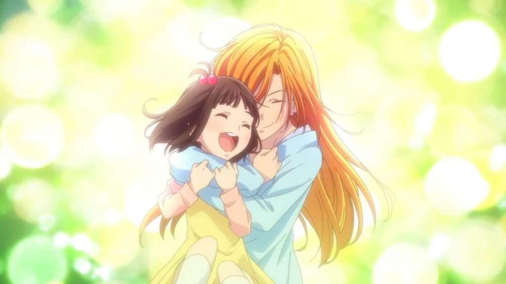 Imagem de Fruits Basket com a mãe da Tooru a abraçando quando ela era criança