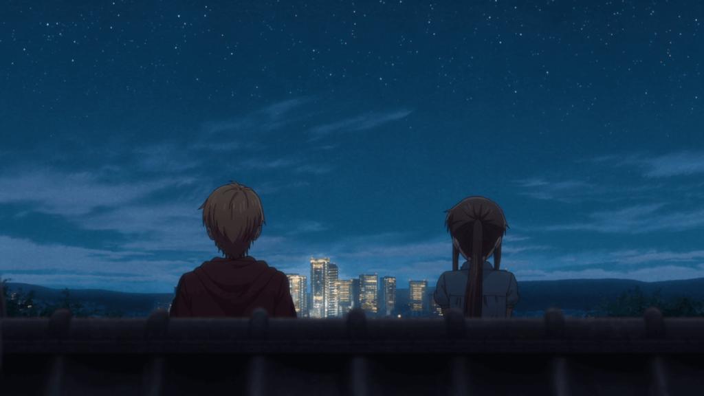 Imagem de Tooru e Kyo em cima do telhado observando as estrelas no céu
