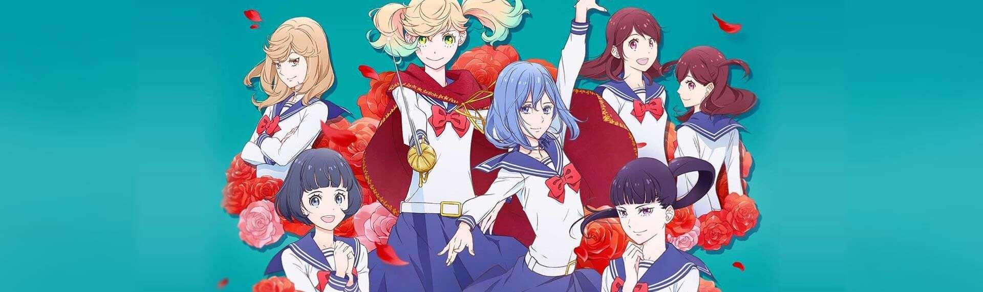 Todas personagens de Kageki Shoujo em grupo, vestidas com roupa de colégio e com algumas rodas ao redor.