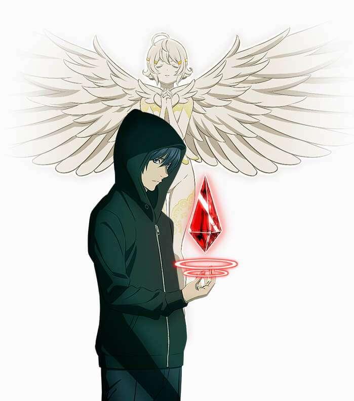 Personagem de platinum end vestindo um capuz verde com um cristal vermelho flutuando em sua mão, ao fundo se encontra um anjo alvo com asas abertas voando