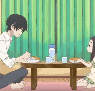 Kakushigoto pai e filha na sala de estar comendo juntos