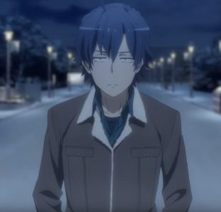 Oregairu 3 temporada Hachiman com olhar de mal encarado