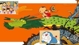 imagens de animes longos, a família de sazae-san na frente, doreamon, o dragão kaido de one piece