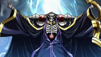 Ainz Ooal Gown segurando seu cajado da guild, com os braços abertos