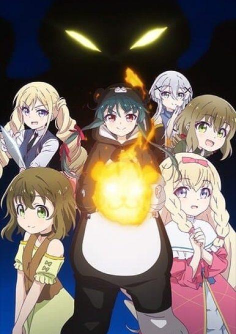 kuma kuma kuma bear protagonista com fogo e outras meninas