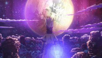 na imagem senku protagonista da história de Dr.Stone olha a lua em um deu estrelado, no reflexo dela tem um desenho do trigun por boichi