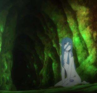 menina em caverna verde na terceira temporada de dungeon ni deai