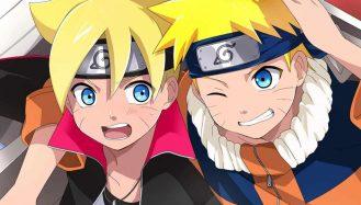 Naruto e Boruto crianças aparecem na imagem com seus olhos expressivos, grandes no estilo de arte japonesa